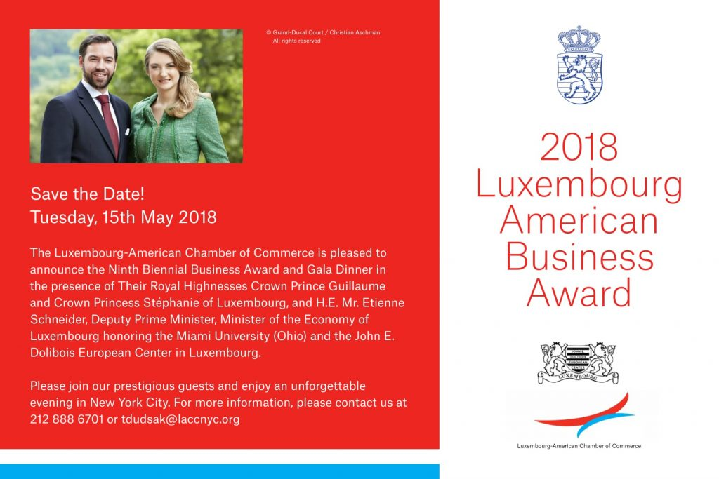 Luxembourg-American Business Awards Announced for 2018